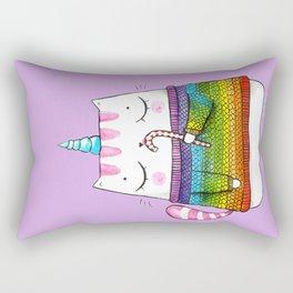 Rainbow Caticorn eating a candy cane Rectangular Pillow
