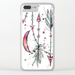 Bohemian Pink and Aqua Clear iPhone Case