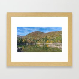 Autumn lake view in France Framed Art Print