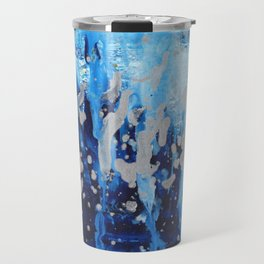 Blue waterfall encaustic painting Travel Mug