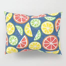 Vitamin C Super Boost - Citric Fruits on Blue Pillow Sham