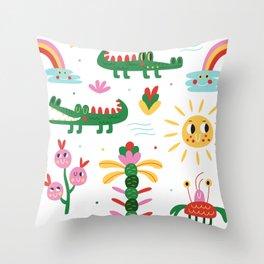 Crocodiles with happy smiles Throw Pillow