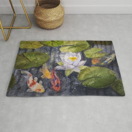 Koi Fishes and Water Lily in Lake Rug