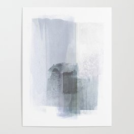 Blue Grey Minimalist Abstract Painting Poster