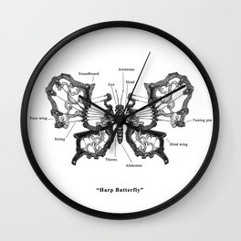 "Mechanical Mistake series "" Harp Butterfly"" Wall Clock"