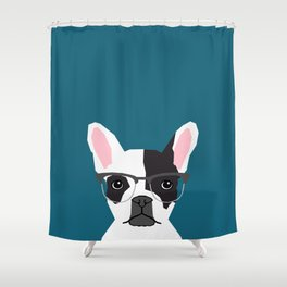 Hadley  - French Bulldog wearing hipster glasses perfect for dog lovers and owners, dog people Shower Curtain
