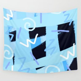 vintage 90s craze blue Wall Tapestry