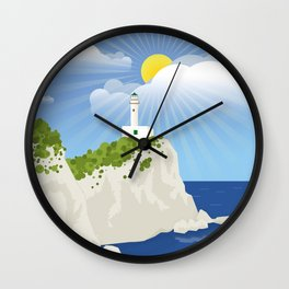 Lefkada, Lighthouse at Cape Ducato (GR) Wall Clock