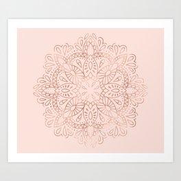 Mandala Rose Gold Pink Shimmer on Blush Pink Art Print