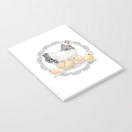 Mother Hen and Her Chicks in Crochet Wreath Notebook