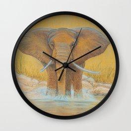 Elephant in Water Wall Clock