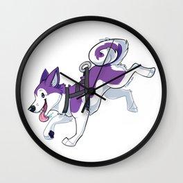 Purple Husky Running Wall Clock