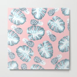Icy Tropical on Pink Metal Print