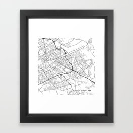 Kitchener Map, Canada - Black and White Framed Art Print