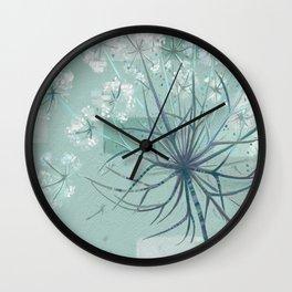 Sage Hogweed Floral Wall Clock