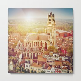 Bruges cityscape with St. Sauveur cathedral, Belgium Metal Print