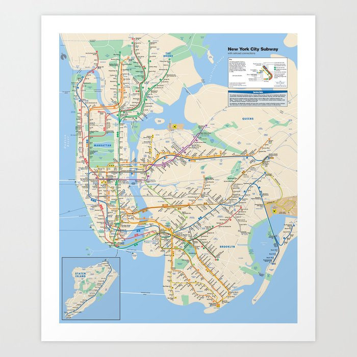 New Your Subway Map.New York City Metro Subway Map Art Print By Greatphotos234 Society6