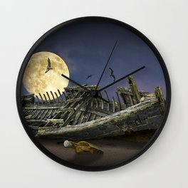 Moon and Wooden Shipwreck with Gulls Wall Clock