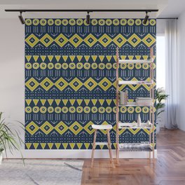 Mudcloth Style 2 in Navy Blue and Yellow Wall Mural
