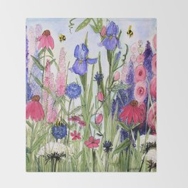 Colorful Garden Flower Acrylic Painting Throw Blanket