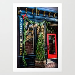 Kildares Irish Pub at Christmastime Art Print