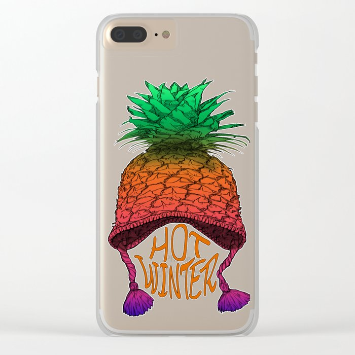 Hot Pineapple Winter Clear iPhone Case