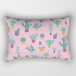 Pink Cactus Pattern Rectangular Pillow
