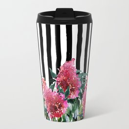 Black white brushstrokes pink watercolor floral stripes Travel Mug