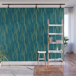 Dark Yellow Abstract Grunge Vertical Stripe Pattern on Tropical Dark Teal Inspired by Sherwin Williams 2020 Trending Color Oceanside SW6496 Wall Mural