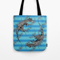 otters Tote Bags featuring Swimming Otters by Curious Nonsense.