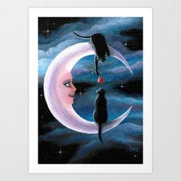Cat 581 Black Cats on the moon Art Print