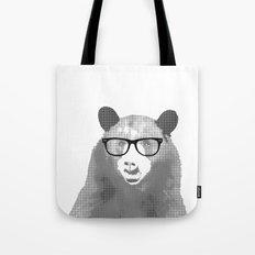Halftone Hipster Bear Tote Bag