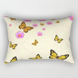 YELLOW-ORANGE MONARCH BUTTERFLIES PINK ROSES  MONTAGE Rectangular Pillow