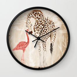 Precious Love Giraffe and Flamingo Watercolor Painting , Unlikely Lovers Hope Wall Clock