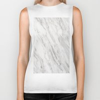 white marble Biker Tanks featuring White Marble by LS Works