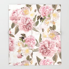 Vintage & Shabby Chic - Antique Sepia Summer Day Roses And Peonies Botanical Garden Throw Blanket