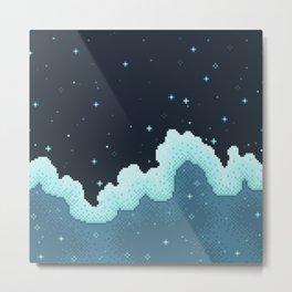 Pixel Snowfall Galaxy Metal Print