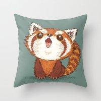 red panda Throw Pillows featuring Red panda by Toru Sanogawa