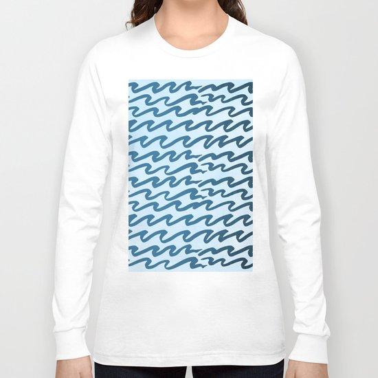 Abstract Metallic Sea Waves Saltwater Taffy Teal on Blue Raspberry Long Sleeve T-shirt