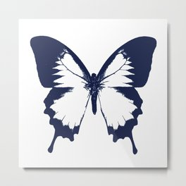 Navy and White Butterfly Metal Print