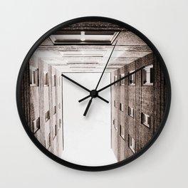 New York City Brown Brick Apartment Building, NYC Urban Queens Wall Clock