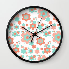 Coral and Mint Green Floral Wall Clock