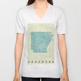 Arkansas State Map Blue Vintage Unisex V-Neck