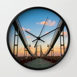 Pedestrian bridge in Kiev Wall Clock