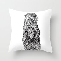 otter Throw Pillows featuring Otter by Meredith Mackworth-Praed