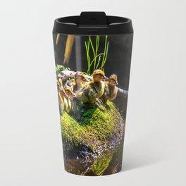 Mallard ducklings on a stone Travel Mug