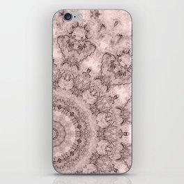 Pink marble kaleidoscope, ornament elements print iPhone Skin