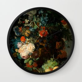 "Jan van Huysum ""Still life with flowers and fruits"" Wall Clock"