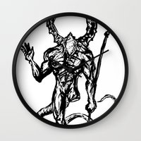 dark souls Wall Clocks featuring Your friend the Titanite Demon - Dark Souls by Peter Forsman