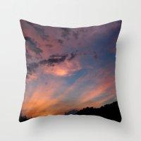 tye dye Throw Pillows featuring tYe dYe skYe by The Violet Noir